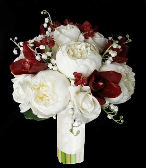 Natural Touch Off White Peonies and Red Orchids Bouquet