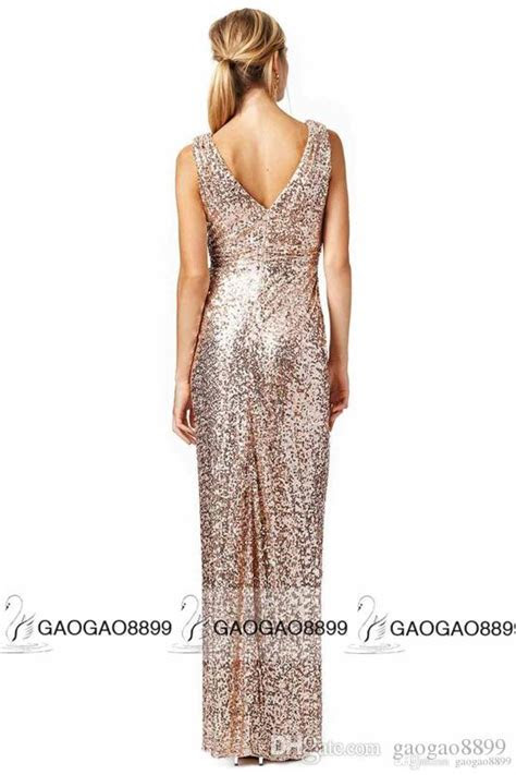 Bling Rose Gold V Neck Sequined Maid Of Honor Dresses