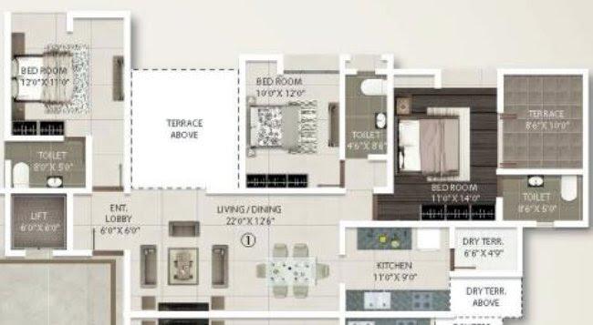3 BHK Flat - 1025 sq.ft. Carpet + Terrace - A Buildings - Even Floors - Gini Viviana, Balewadi, Pune 411 045