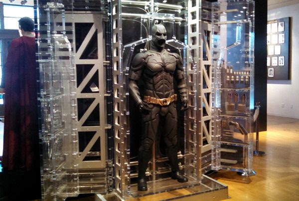The Batsuit used in 2008's THE DARK KNIGHT and 2012's THE DARK KNIGHT RISES (I think)...as seen at Warner Bros studio on September 8, 2015.