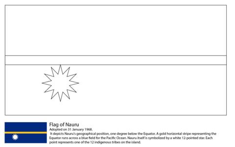 Dibujo De Bandera De Nauru Para Colorear Dibujos Para Colorear