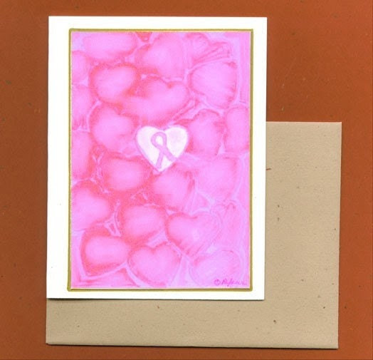 Breast Cancer Awareness Pink Ribbon Note Card - Surrounded by Love
