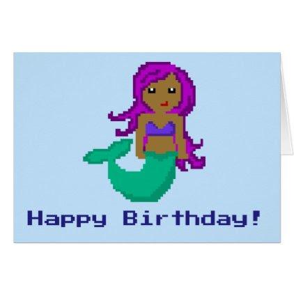 8Bit Pixel Geek Mermaid Custom Birthday Card