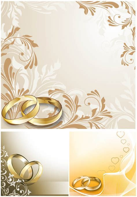 Wedding cards with wedding rings vector   Tasar?m