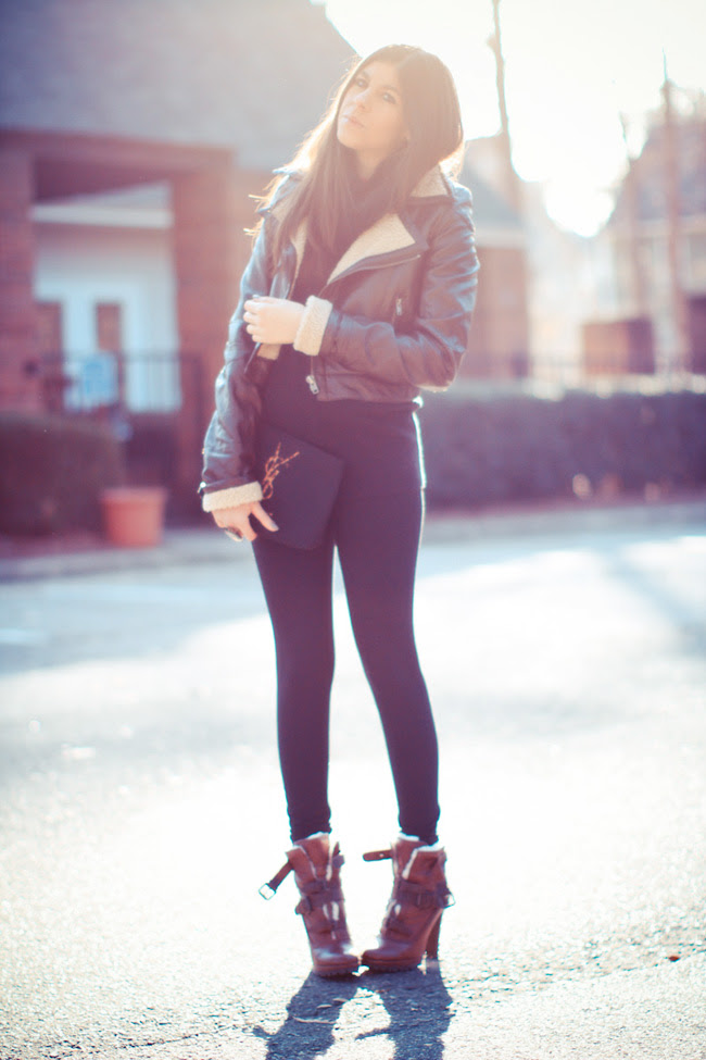Fashion, Outfit, Dolce Vita boots, Burberry Shearling Jacket, YSL