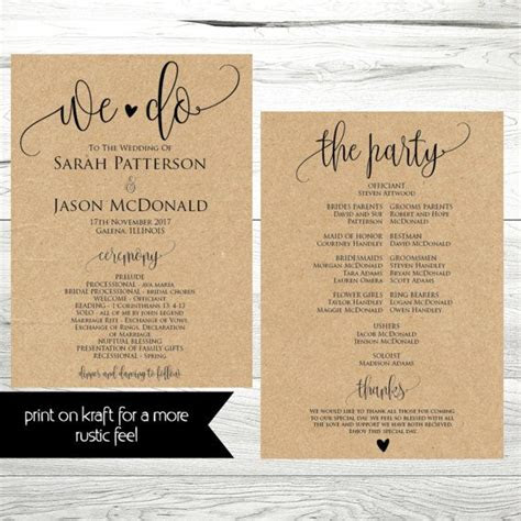 wedding program templates wedding program ideas