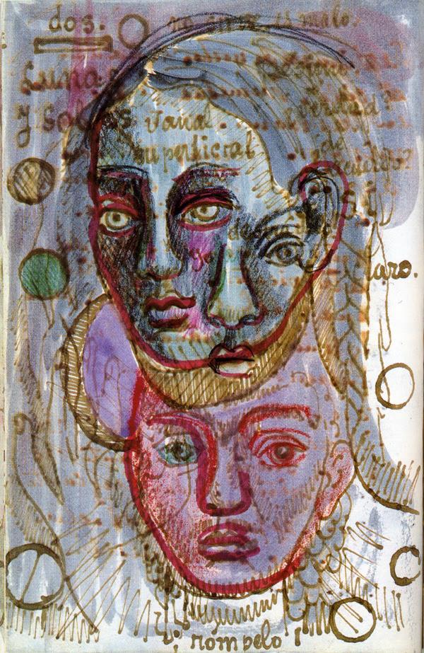 2headedsnake:  A page from Frida Kahlo's diary Triple Self-Portrait