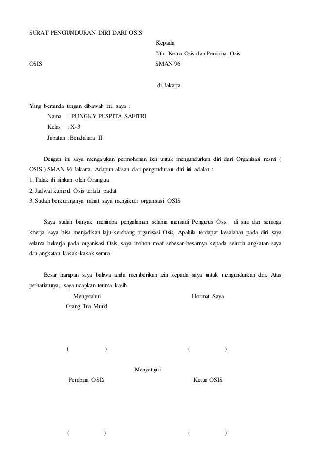Contoh Surat Pengunduran Diri Organisasi Pmr Toko Fd Flashdisk