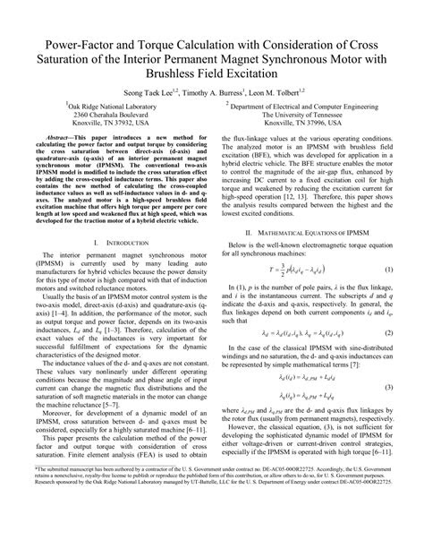 (PDF) Power-Factor and Torque Calculation with