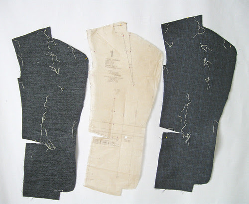 Grey jacket front pattern pieces