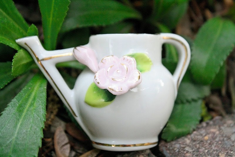 Spring decor mini ceramic watering can with pink flower and gold trim - thefrolickingfrog