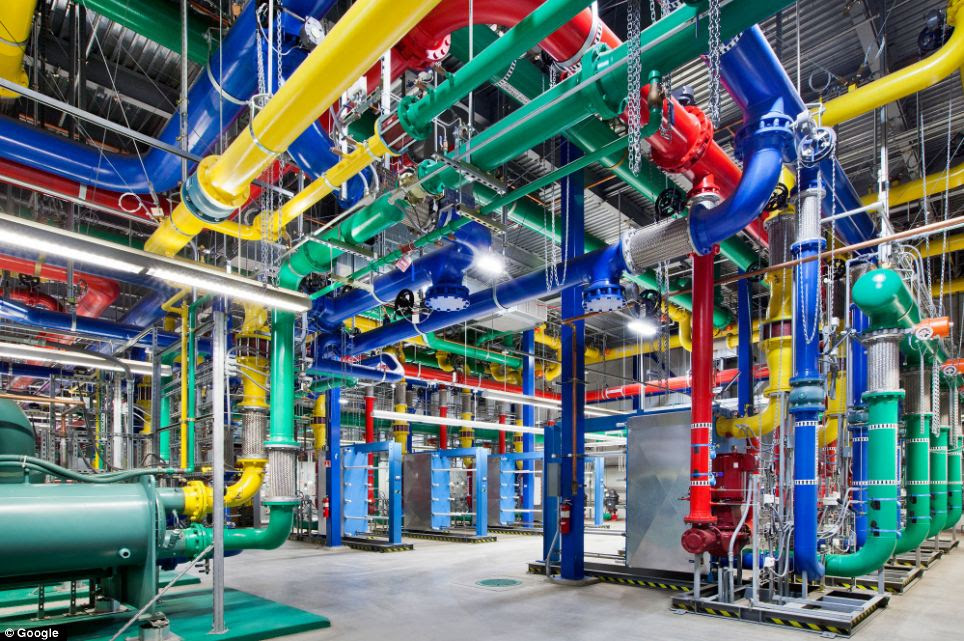 Even the water pipes reflect Google's brand: These colorful pipes are responsible for carrying water in and out of an Oregon data center. The blue pipes supply cold water and the red pipes return the warm water back to be cooled.