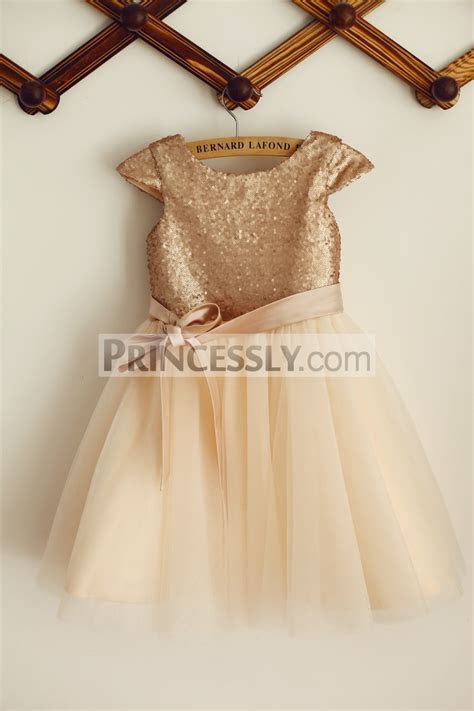 Champagne Sequins Tulle Cap Sleeves Flower Girl Dress with