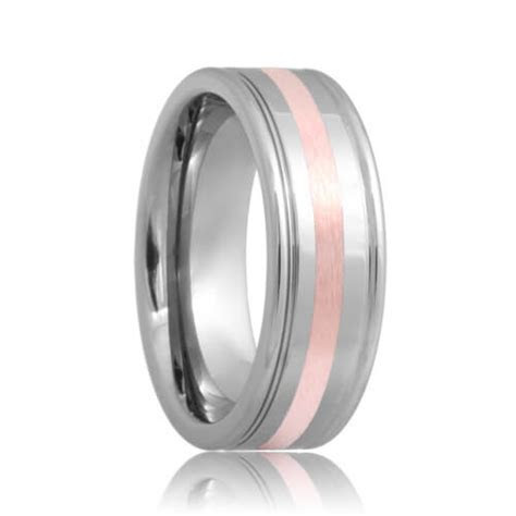 Alexandria   Dual Grooved Rose Gold Inlaid Tungsten