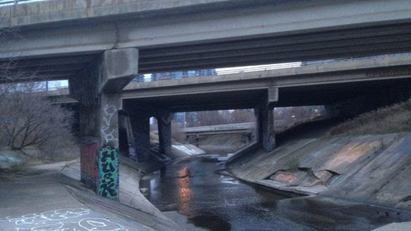 Down by the QEW, Mimico Creek is encased in concrete — an unnatural but fascinating landscape.