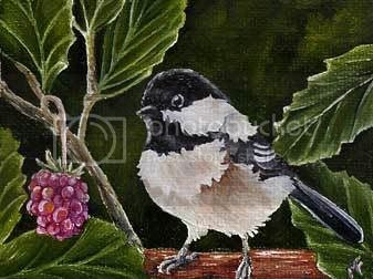 oil chickadee painting