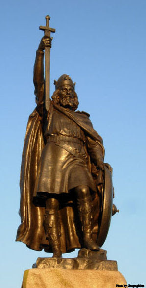 Statue of St. Alfred the Great in Winchester, England.