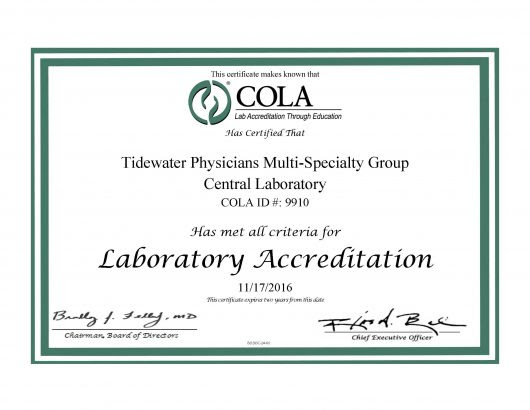 Tidewater Physicians Multispecialty Group - Central Laboratory