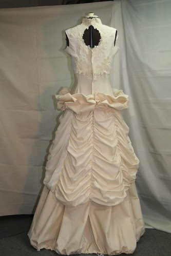 vintage wedding gown -muslin ruched peplum back