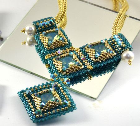 Dramatic Deco Necklace (teal & pacific opal) * supplies only beading kit