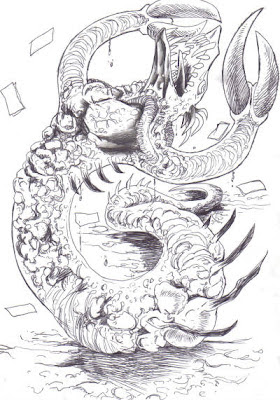 Lobster Claw Demons Biro Drawing