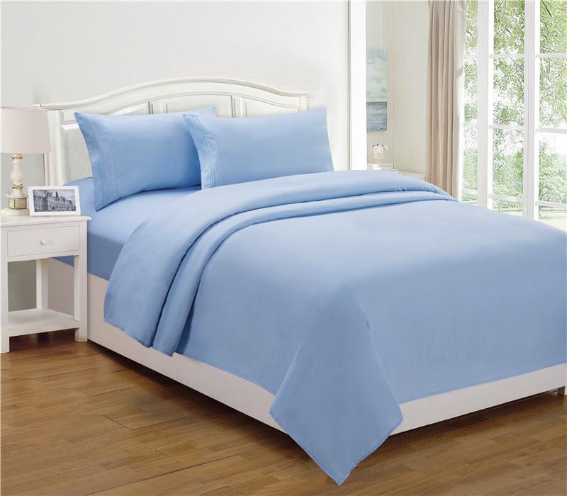 Queen Bed Sheet Set, Color: Light Blue   Property Room