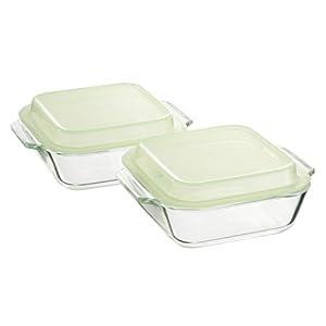 iwaki フタ付き オーブントースター皿 小 2個セット グリーン K3840C-G2