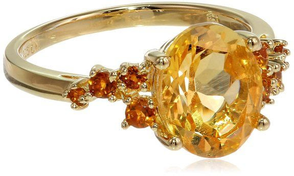 Sterling Silver Citrine Ring, Size 6