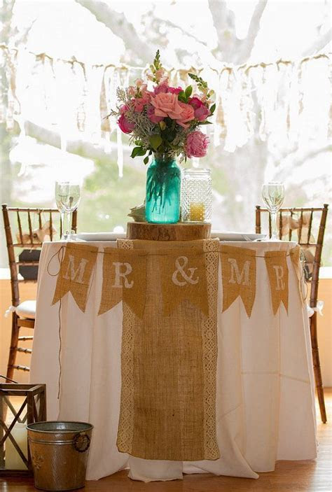 Mr. & Mrs. Burlap Pennant Banner for Rustic Theme Wedding