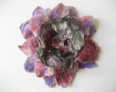 SALE Purple Violet Pink Grey Felted Flower Brooch, Nuno Felted Wool - feltinga
