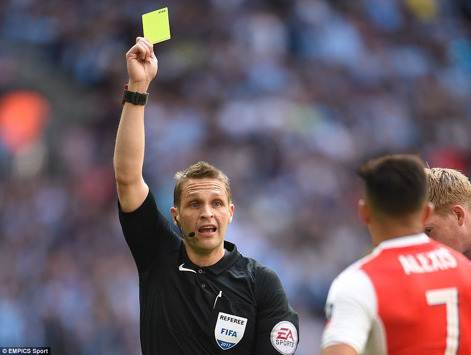 Sanchez then picks up a yellow card from referee Craig Pawson as he looks to calm an ill-tempered affair