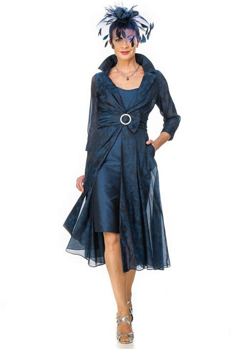 Navy organza jacquard flowing coat with silk dress ? Joyce