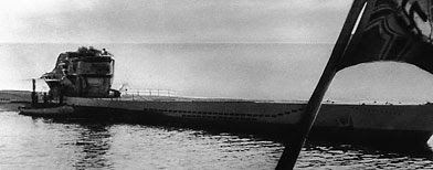 A new German U-boat returning from sea trials on Oct. 27, 1943. (AP)