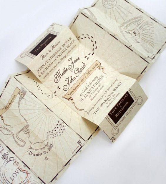 die Marauder Karte als Hochzeitseinladung - was kann cooler
