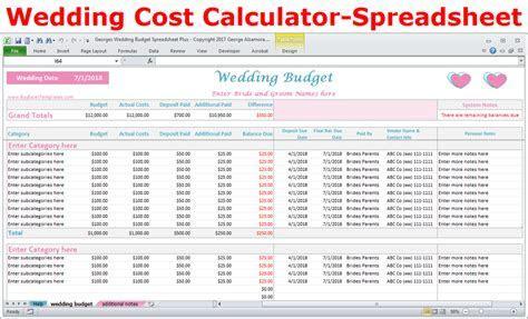 Wedding Costs Calculator Excel Wedding Expenses Worksheet