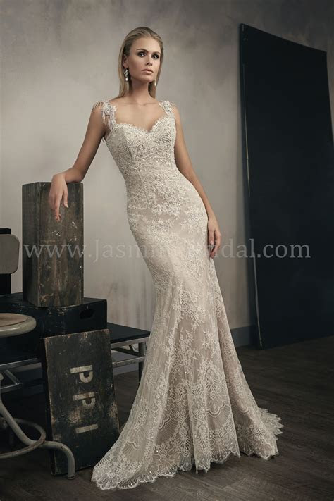 T192051 Sweetheart Neckline Lace Wedding Dress with Beaded
