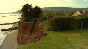 A Sidmouth garden affected by erosion