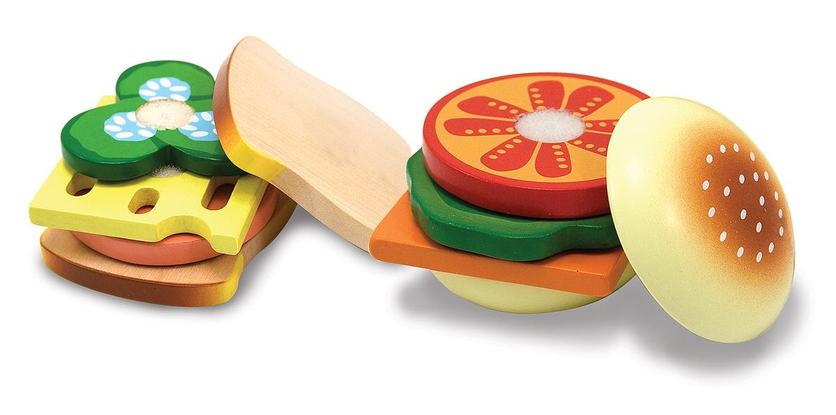 Amazon.com: Melissa & Doug Wooden Sandwich-Making Set: Melissa ...