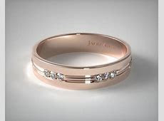 wedding rings, mens diamond, 14k rose gold 6mm etched channel set diamond wedding ring item 51382