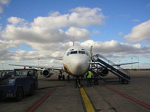 A Ryanair 737-200 airliner on the ground at Du...
