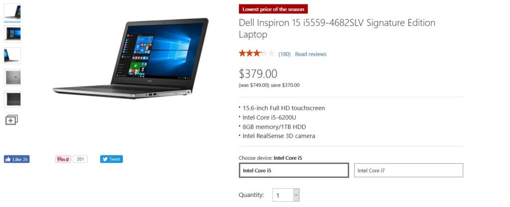 Amazing Deals Dell Inspiron15 I5559 Signature Edition Gets 370 Price Cut Gadgetdetail