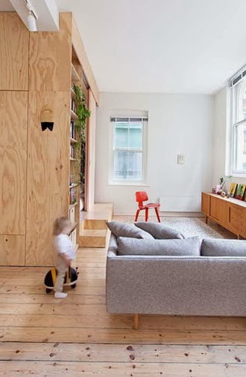 Small apartment decorated with plywood | Home Interior ...
