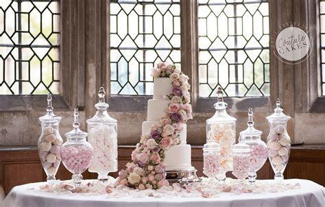 Cascading Roses Dessert Table Wedding Cake