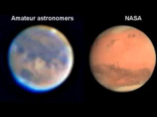 La foto di Marte della NASA comparata alla foto di un astronomo amatoriale
