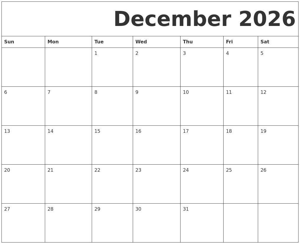 december 2026 free printable calendar