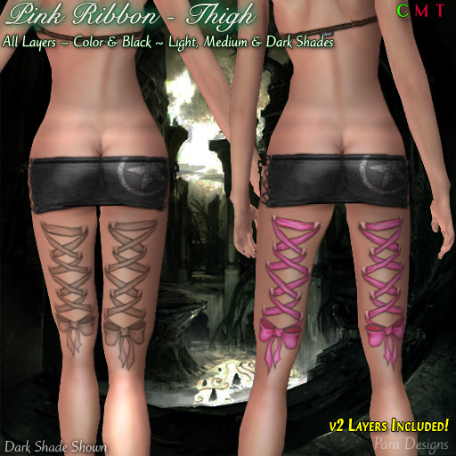 Red Bow Tattoos On Back Thighs