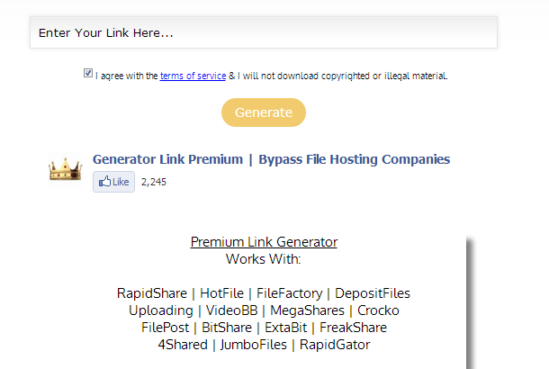 Premium Link Generator for RapidShare | HotFile | FileFactory | DepositFiles Uploading | VideoBB | MegaShares | Crocko| FilePost | BitShare | ExtaBit | FreakShare |4Shared | JumboFiles | RapidGator
