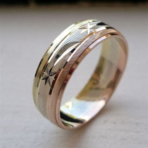 10K SOLID TRICOLOR GOLD MEN'S/ WOMEN'S WEDDING BAND RING
