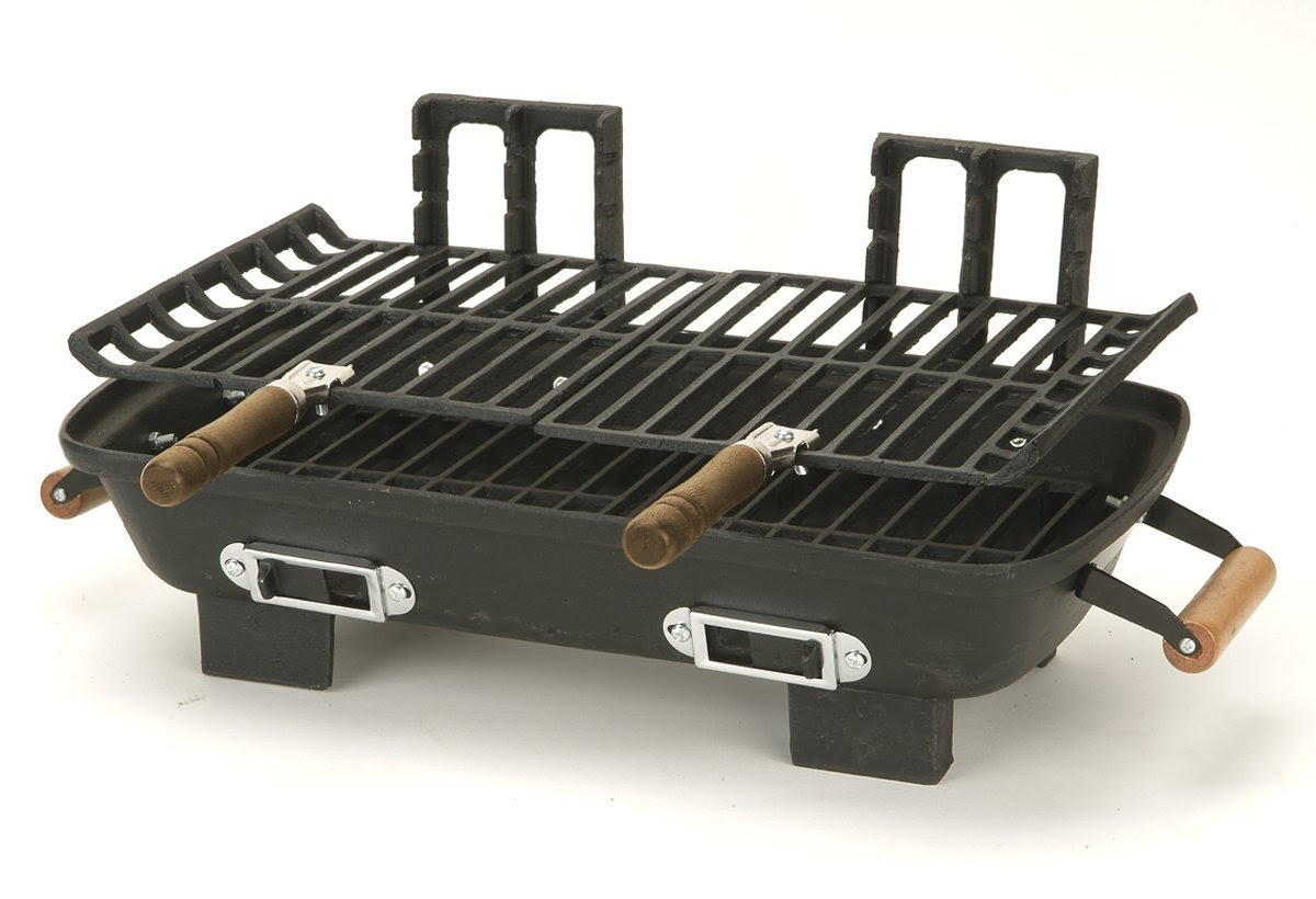 portable home Hibachi grill with double handles feature