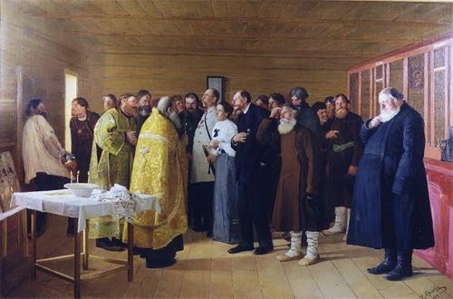 Н. Орлов. Освящение водочного магазина. 1904